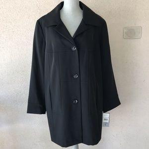 Gallery Woman Black Stretch Rain Coat Trench 1X